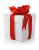 Gift box with red bow. On white background Stock Image