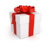 Gift box with red bow. On white background Royalty Free Stock Images