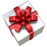 Gift box with red bow 3d Royalty Free Stock Images