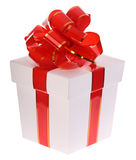 Gift box and red bow. Royalty Free Stock Image