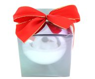 Gift box with red bow Royalty Free Stock Image