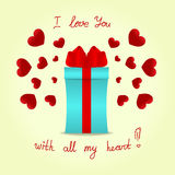 Gift box with a red bow on background with red hearts Stock Image
