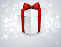 Gift box with red bow. Stock Photos