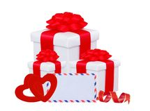 Gift box with red bow, hearts and greeting card Royalty Free Stock Images