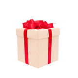 Gift box with red bow isolated on white Stock Image