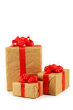 Gift box with red bow isolated on white background Stock Photography