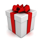 Gift box with red bow ribbon Royalty Free Stock Photography
