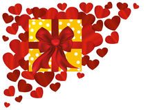 Gift box with a red bow and ribbon on a background of hearts. Royalty Free Stock Photography