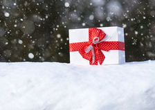 Gift box with red bow on snow in winter forest. One object. Christmas holiday concept. Royalty Free Stock Images