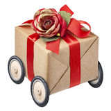 Gift Box Red Bow Wheel Wheels Isolated Royalty Free Stock Photography