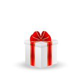 Gift box with a red bow on a white background Royalty Free Stock Images