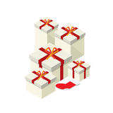 Gift box and red chistmas sock Royalty Free Stock Image