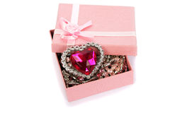 Gift box with red heart Royalty Free Stock Image
