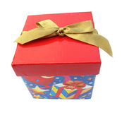 Gift box red heart with golden tie Stock Images