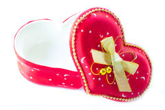 Gift box. Red heart shape gift box Royalty Free Stock Photos