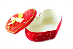 Gift box. Red heart shape gift box Royalty Free Stock Images