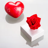 Gift box with red heart for Valentines Stock Photography