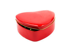 Gift box red heart. On a white background Royalty Free Stock Photography