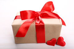 Gift box with red hearts close-up Stock Photo