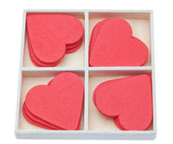 Gift box with red lovely hearts. Royalty Free Stock Photography