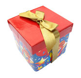 Gift box red package with golden yellow bow Royalty Free Stock Images