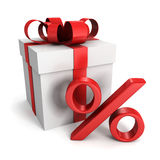 Gift box with red percent symbol on white Royalty Free Stock Photos