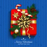 Gift box red present in gold ribbon bow with fir tree, candy can. E, golden star and bubble. Square gift box for Christmas or New Year Holiday greeting card stock illustration