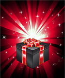 Gift Box with Red Ray Lights Stock Photography