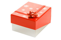 Gift box with red ribbon Stock Photos