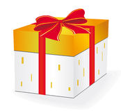 Gift box with a red ribbon Royalty Free Stock Photos