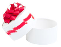 Gift box with red ribbon. Isolated on a white background Stock Photography
