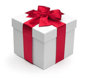 Gift box with red ribbon. Royalty Free Stock Image