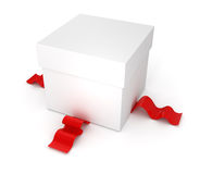 Gift box with red ribbon. On white background Stock Photos
