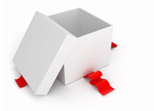 Gift box with red ribbon. On white background Stock Image