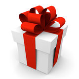 Gift box with red ribbon. And bow Stock Images