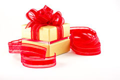 Gift box and red ribbon Royalty Free Stock Photos