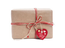 Gift box with red ribbon Royalty Free Stock Photo