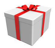 Gift box with red ribbon Stock Photo
