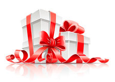Gift in box with red ribbon and bow. Illustration isolated on white background Stock Images