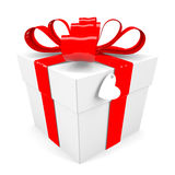 Gift box with red ribbon bow Stock Images