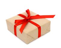 Gift box. With red ribbon bow Royalty Free Stock Photography
