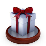 Gift box with red ribbon. Stock Photos