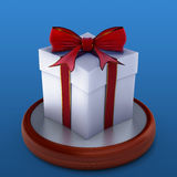 Gift box with red ribbon. Royalty Free Stock Photo