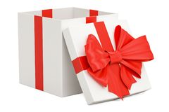 Gift box with red ribbon and bow, 3D rendering Stock Images