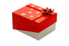 Gift box with red ribbon and bow,isolated Royalty Free Stock Image