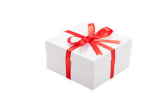Gift box with red ribbon and bow Royalty Free Stock Photography