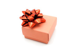 Gift box with red ribbon bow isolated on white background Stock Image