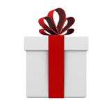 Gift box with red ribbon bow isolated on white background Stock Photo