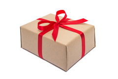 Gift box with red ribbon bow isolated on white Royalty Free Stock Photography