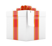 Gift box with red ribbon bow and label. 3D Illustration Royalty Free Stock Image